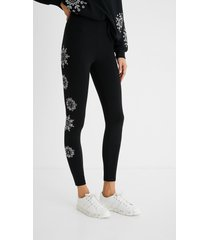 leggings swiss embroidery - black - xl
