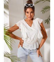 yoins blusa con mangas con volantes y cuello en v bordado blanco
