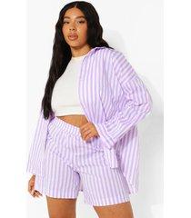 plus oversized gestreept overhemd en shorts set, lilac