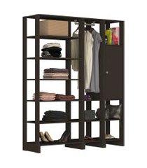 guarda roupa closet 3 peças 1 cabideiro 1 porta c/ 2 prateleiras e 12 nichos yes nova mobile preto
