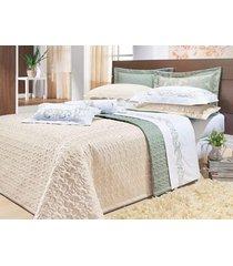 colcha / cobre leito dupla face cama king size lado bege e lado verde percal 200 fios com 3 peças - cobreleito verbena - bernadete casa