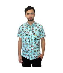 camisa estampada camaleão urbano vintage kombi azul