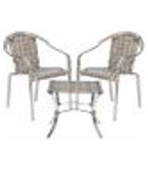jogo cadeiras 2un e mesa de centro pinheiro para edicula jardim area varanda descanso - capuccino