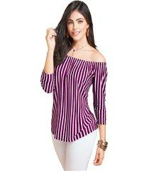 blusa adulto femenino bicolor raya vino marketing  personal