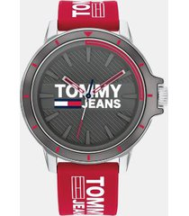 tommy hilfiger men's tommy jeans red logo watch red -