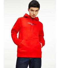 tommy hilfiger men's linear logo hoodie deep crimson - xl