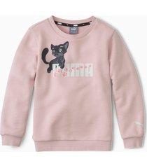 animals sweater met ronde hals, roze, maat 128 | puma