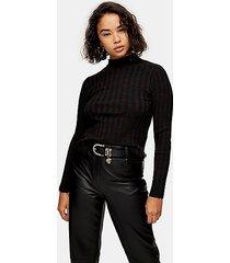 petite black knitted marl funnel neck top - black