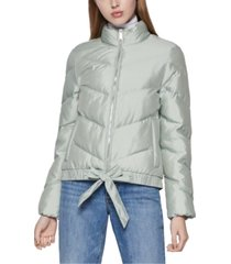 bcbgeneration ribbon-tie puffer jacket