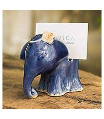celadon ceramic business card holder, 'elephant girl' (thailand)