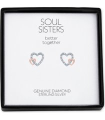 diamond accent double heart stud earrings in sterling silver & rose gold-plate