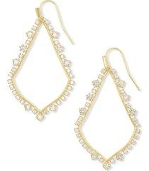 kendra scott 14k gold-plated cubic zirconia open drop earrings