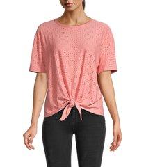 nanette nanette lepore women's knotted eyelet t-shirt - light flamingo - size xs