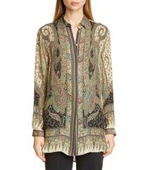 women's etro paisley print silk blouse, size 2 us - black