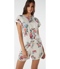 shorts in viscosa flower bouquet