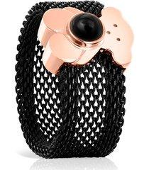 anillo tous real sisy negro-oro rosa 812455571
