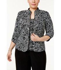 alex evenings plus size printed mandarin jacket & top set