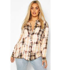 plus oversized bleached flannel shirt, beige
