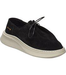 yatfai sneaker black suede snörade skor låga svart gram