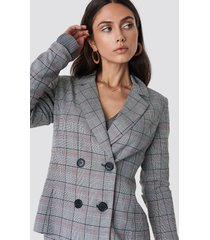 dilara x na-kd checked double button blazer - grey