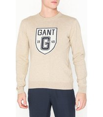 gant d2. holiday intarsia shield crew tröjor oatmeal