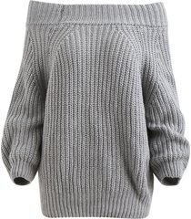 chunky off the shoulder pullover sweater
