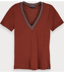 scotch & soda 100% tencel short sleeve v-neck t-shirt