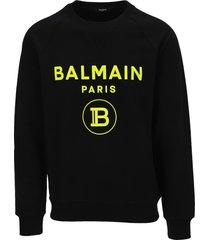 balmain black cotton sweatshirt with flocked neon yellow balmain logo