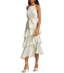 zimmermann women's picnic tiered silk dress - moss - size 3 (8-10)
