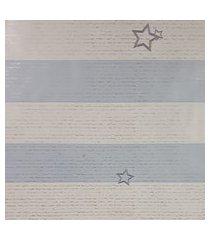 kit 3 rolos de papel de parede para menino listras azul e branco