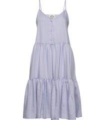 stripy visco ditza jurk knielengte blauw mads nørgaard