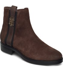 th interlock suede flat boot shoes boots ankle boots ankle boot - flat brun tommy hilfiger