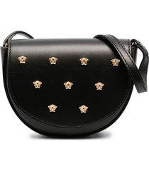 young versace medusa head studded shoulder bag - black