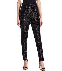 st. john women's starlight sequin mesh pants - silver - size s