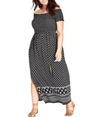 plus size women's city chic smocked off the shoulder maxi dress, size xx-large - black