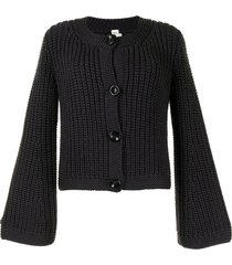 hermès chunky knit flared sleeve cardigan - purple