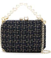 isla tweed clutch bag with pearl detail - black