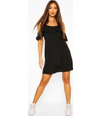 cold shoulder button detail slip dress, black