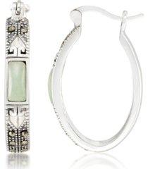 jade (7.5 x 5.3mm) & marcasite oval hoop earrings in sterling silver