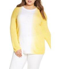 plus size women's single thread vertical dip dye sweater