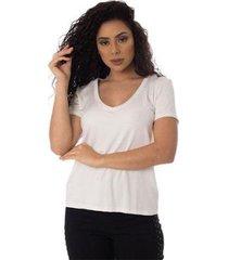 t-shirts daniela cristina gola v profundo 10269 2 branco - branco - g - feminino