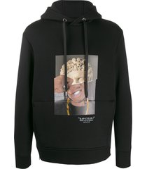 neil barrett rap-clues 1 hybrid print hoodie - black