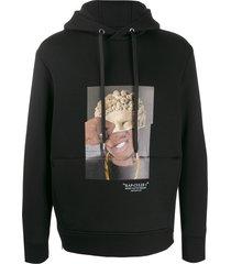 neil barrett rap-clues 1 hybrid print hoodie - black
