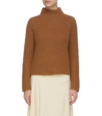 mock neck marled mohair blend knit sweater