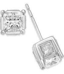 diamond (2 ct. t.w.) spiral bezel stud earrings in 14k yellow or white gold