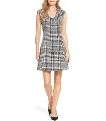 women's forest lily houndstooth jacquard fit & flare dress, size medium - black