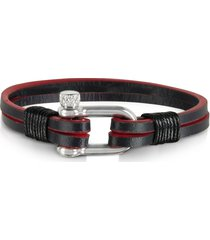 forzieri designer men's bracelets, two tone genuine leather men's double bracelet