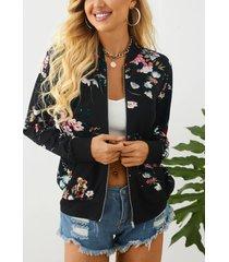 yoins chaqueta de manga larga con cuello alto y estampado floral al azar