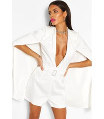 woven cape detail belted romper, white