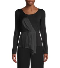 bailey 44 women's laira draped satin & jersey top - black - size s